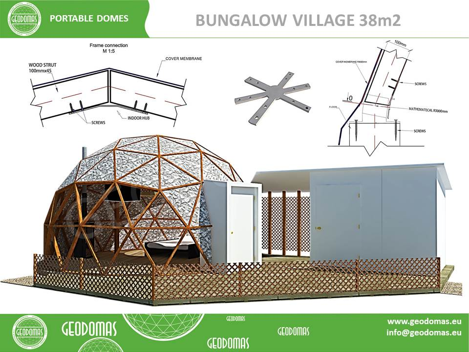 Glamping Village Ø6m Height + WC & Shower ROOM | Total 47m2