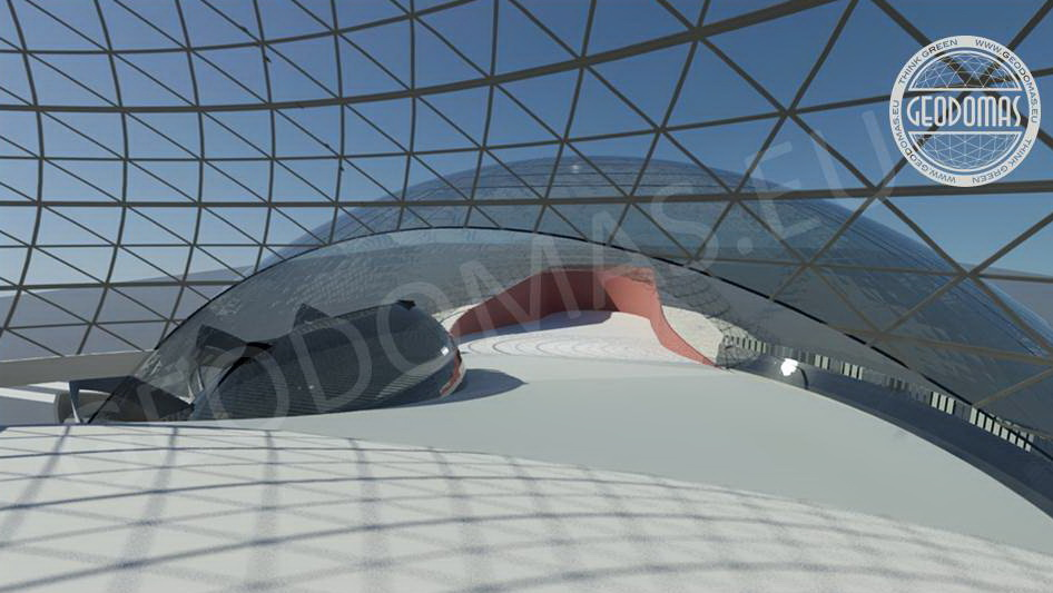 Geodesic Dome Roof for Round Ski Resort-Slope | Futuristic concept  for Success Business