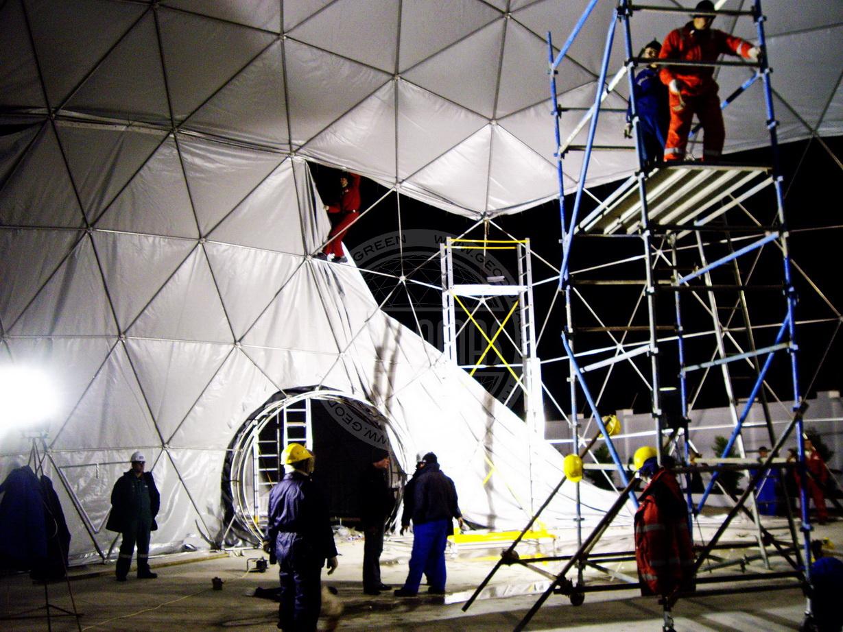 Tony Blair visit to AZMECO Geodesic Domes Ø20m & Ø7m, Baku, Azerbaijan