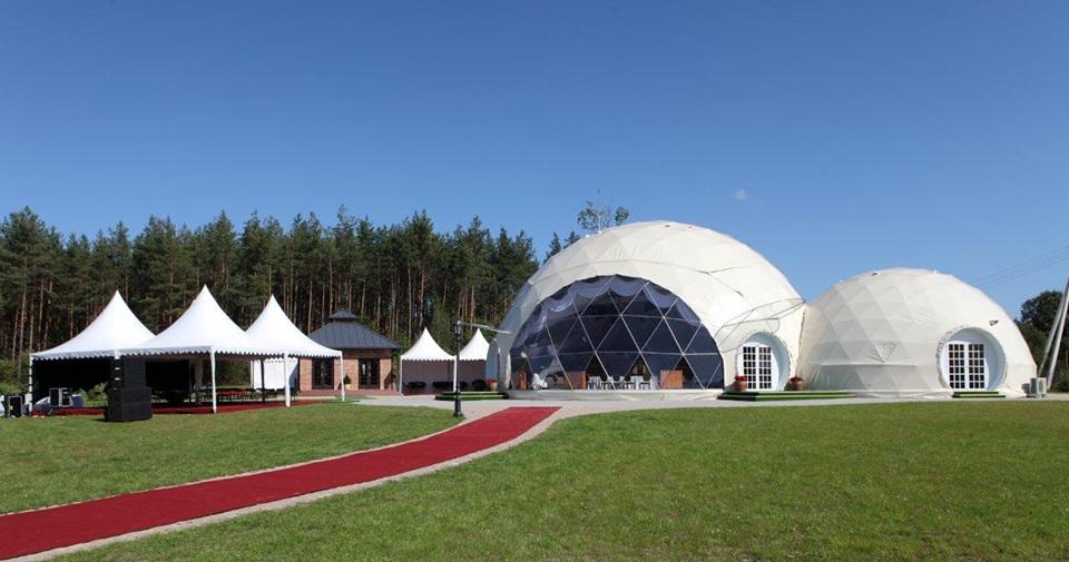 """Pokylių kompleksas """"Jusinė"""", 450m², Pabradė, Kupolai Ø20m & Ø13m"""