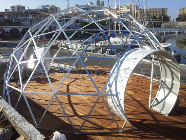 Restoranas Baras Stiklo Kupolas Ø8m, Puerto de Ceuta, Ispanija