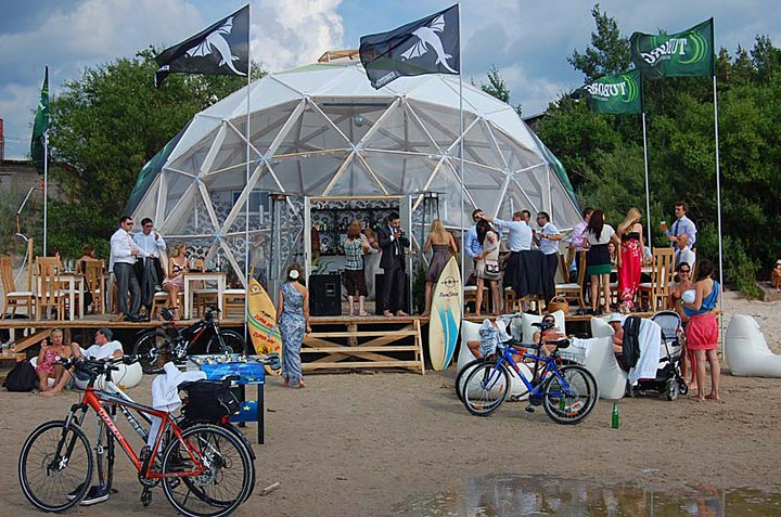 TUBORG Paplūdimio Kupolas Ø11m vasaros restoranui Shiva Bar, Kunigiškės, Palanga