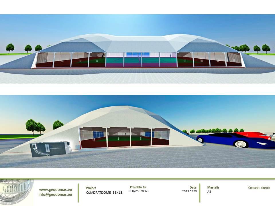 Teniso aikštelės kupolinė stoginė 36x18x7,4m | Kupolai kortu uždengimui