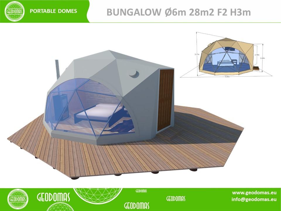 Mobilus kupolas Ø6m F2 su WC ir Dušu | Viso 28m2