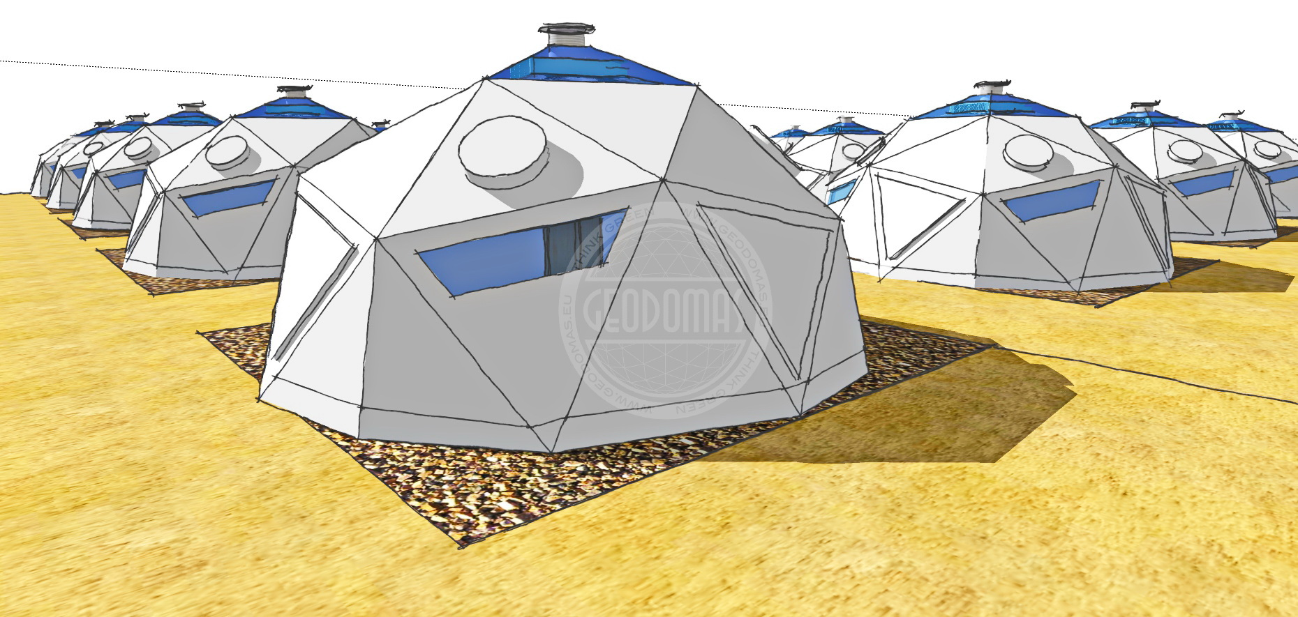 Domes for Temporary Camp Facilities Ø6m x 4person