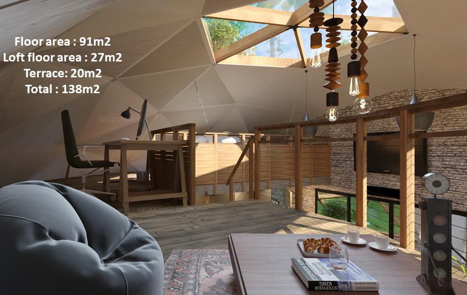 138m2 Family Geodesic House Ø12m