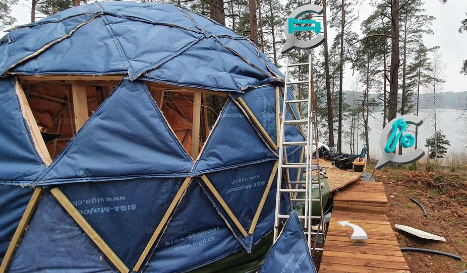 20m2 nedideli namai   Medienos geodezinis kupolas Ø5m   Kupolo statybos komplektas