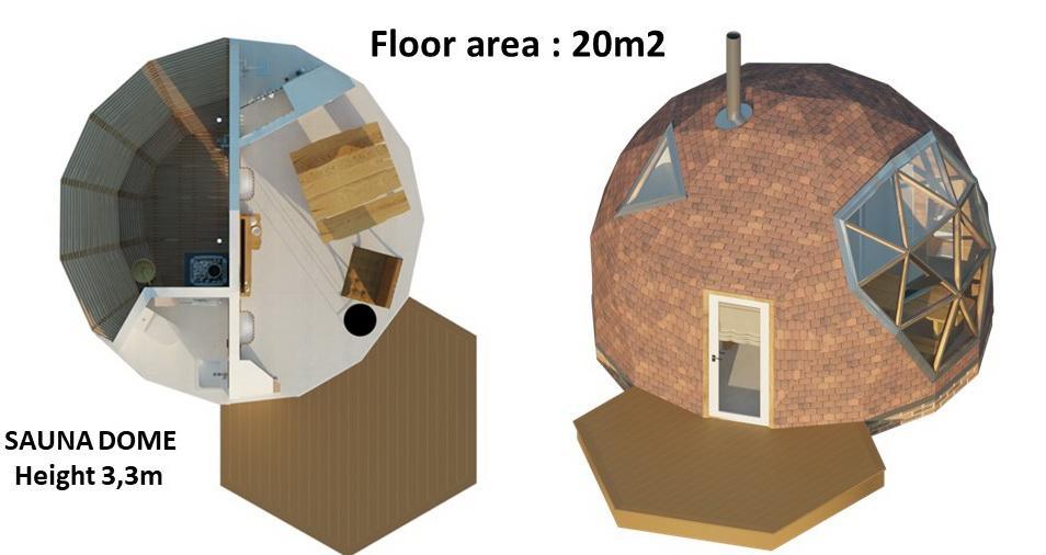 20m2 Saunos Kupolas Ø5m Geodezinio Kupolo Aukštis 3,3m